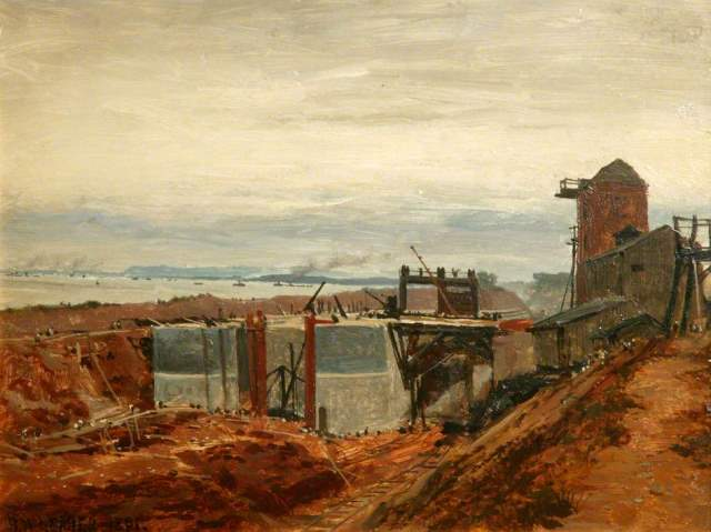The Building of the Manchester Ship Canal by Benjamin Williams Leader