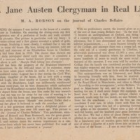 """Article from the """"Listener""""  25.11.54. """"A Jane Austen Clergyman in real life"""""""